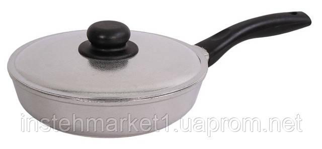 Сковорода алюминиевая с утолщённым дном БИОЛ Блеск 2007БК (200х91 мм) бакелитовая ручка и крышкав интернет-магазине