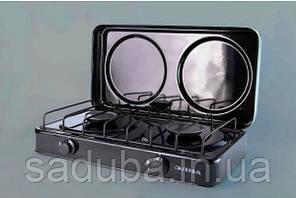 Газовая двухконфорочная плита «Элна» c крышкой