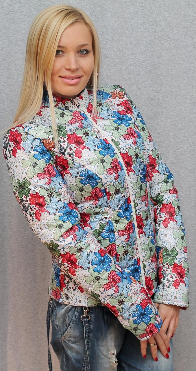 Куртка женкая короткая с цветочным принтом
