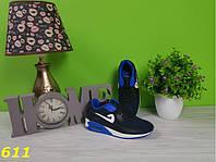 Кроссовки аирмаксы черные с синими вставками, легкие, удобные, спортивная женская обувь, фото 1