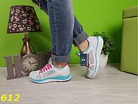 Кроссовки на толстой подошве белые с бирюзой, легкие, удобные, спортивная женская обувь, фото 1