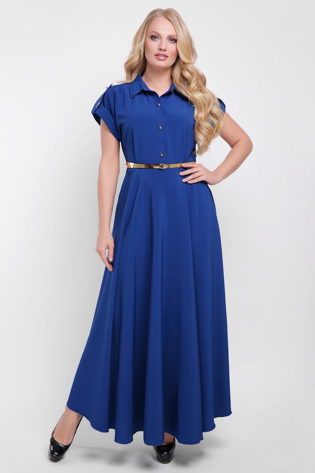 d390d629a25 Летнее платье в пол для полных Алена деним - V Mode