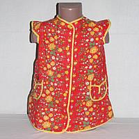 Халат детский красный с желтыми розочками, на 4-5 лет