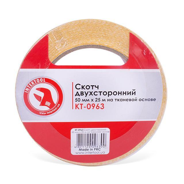 Скотч двосторонній 50 мм*25 м на тканинній основі INTERTOOL KT-0963