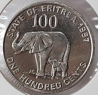 Монета Эритрея 100 центов 1991 г.