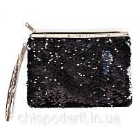 Косметичка-клатч меняющая цвет Черный + серебро