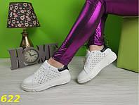 Криперы макквин белые с перфорацией в звездочку дышащие черная пятка,легкие, удобные, спортивная женская обувь, фото 1