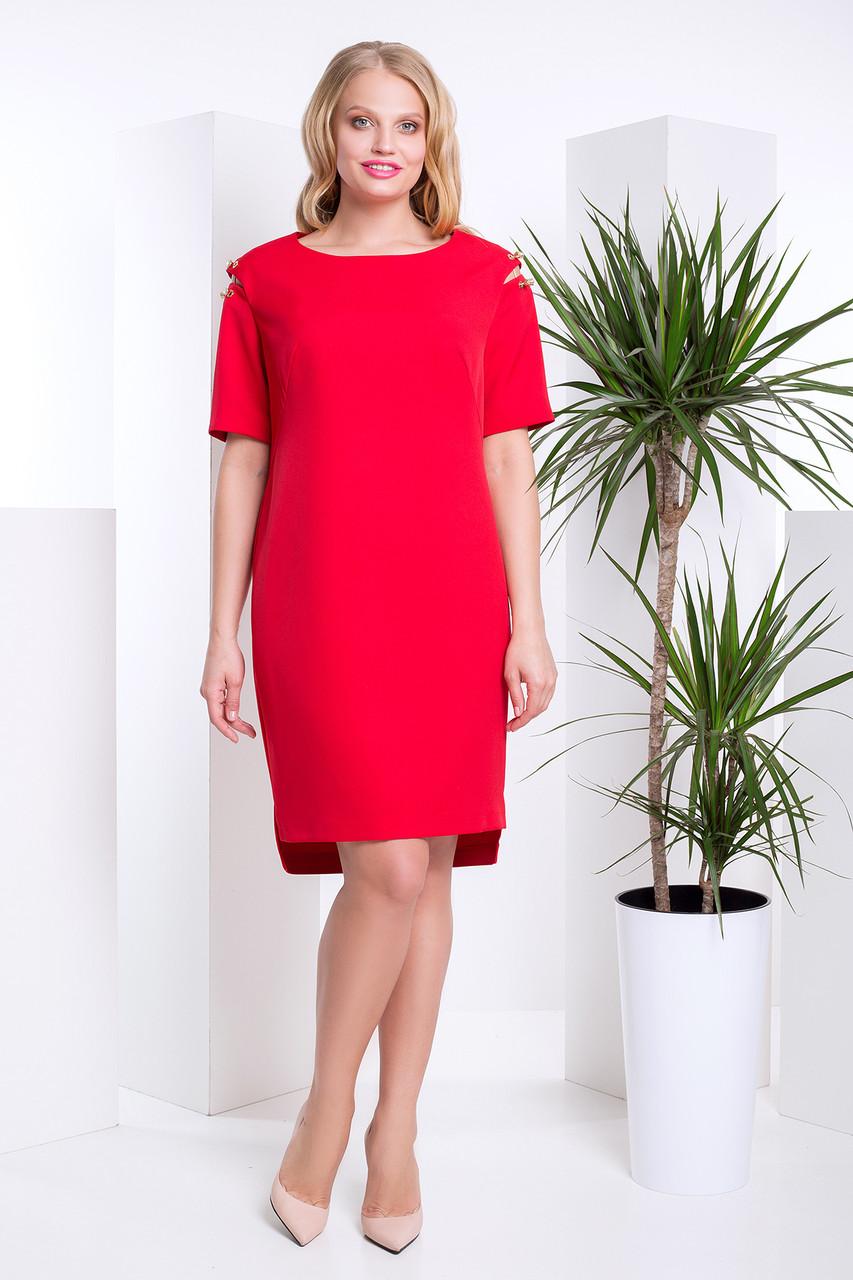 d389f3a74ad97b9 Красивое Платье на Весну с Удлиненной Спинкой Большого Размера Красное  р.48-56
