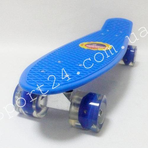 Детский пенни борд 22 ПВХ Голубой светящиеся колеса, до 50 кг