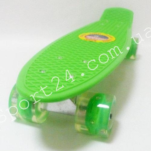 Детский пенни борд 22 ПВХ Зеленый светящиеся колеса, до 50 кг