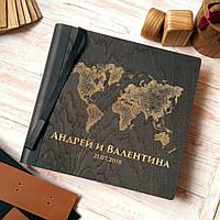 """Деревянная свадебная книга для пожеланий 22х23 см с тонированной обложкой """"Карта Мира"""", фото 1"""