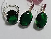 Серебряный комплект Тропиканка с зеленым камнем, фото 1