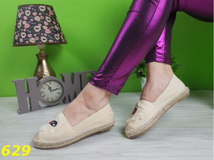 29fc77a993c3 Эспадрильи бежевые джинсовые с принтом, стильные, женская летняя обувь 37 и  40: ...