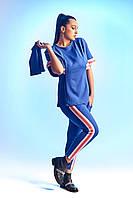 Оригинальный женский костюм большого размера  со съемным рукавом с лампасами   +цвета, фото 1