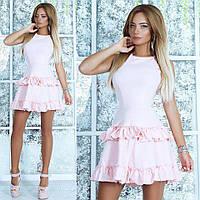 Женское облегающие платье  с юбкой рюшами