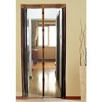 Антимоскитная сетка штора на дверь на магнитах Magic mesh без рисунка (110х220). Серая