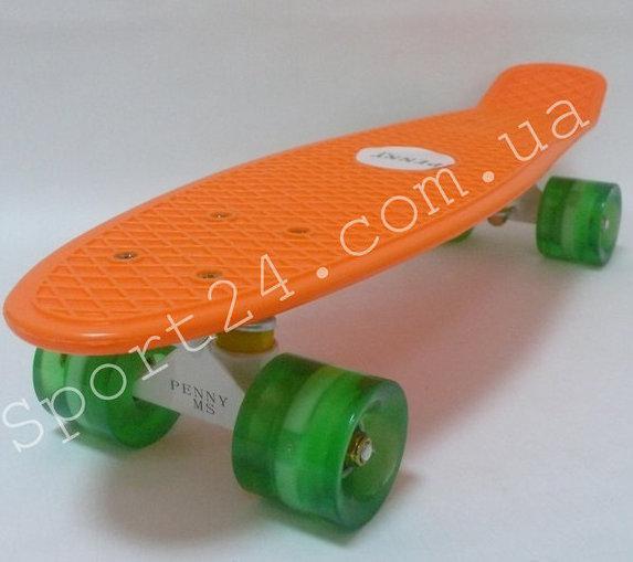 Оранжевый пенни борд светящиеся колеса, до 80 кг