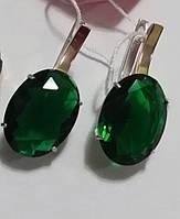 Серьги Тропиканка серебряные с зеленым овальным камнем, фото 1