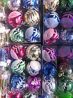 Шары новогодние, набор 6шт. d=6см. с рисунком в ассортименте, фото 1