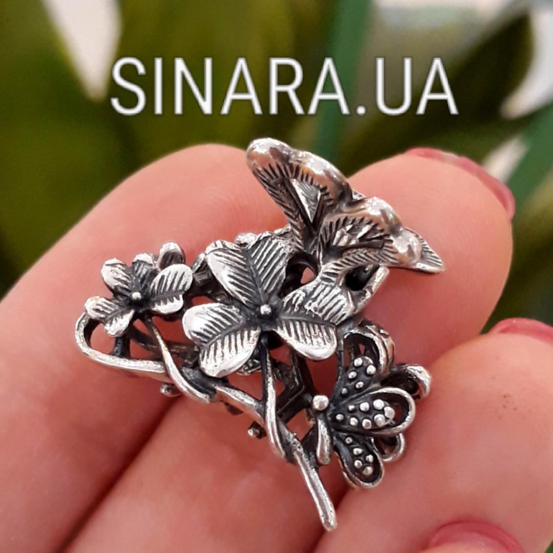 Срібна шпилька для волосся Квіти і Метелики