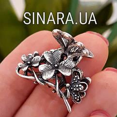 Серебряная заколка для волос Цветы и Бабочки