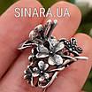 Срібна шпилька для волосся Квіти і Метелики, фото 3