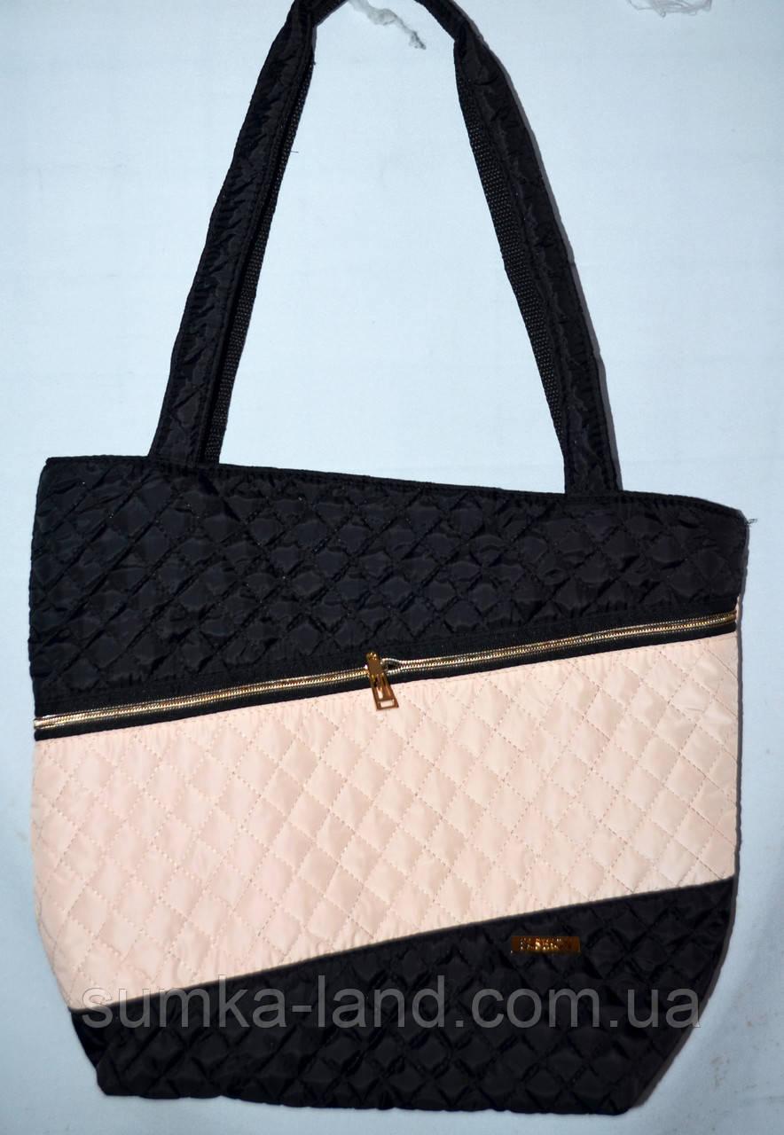 Женская черная стеганная сумка с пудровой вставкой со змейкой 22*30