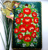 Подарки красивые на день Матери Доска большая 41*26 разделочная кухонная ручной росписи очень красивый изумруд