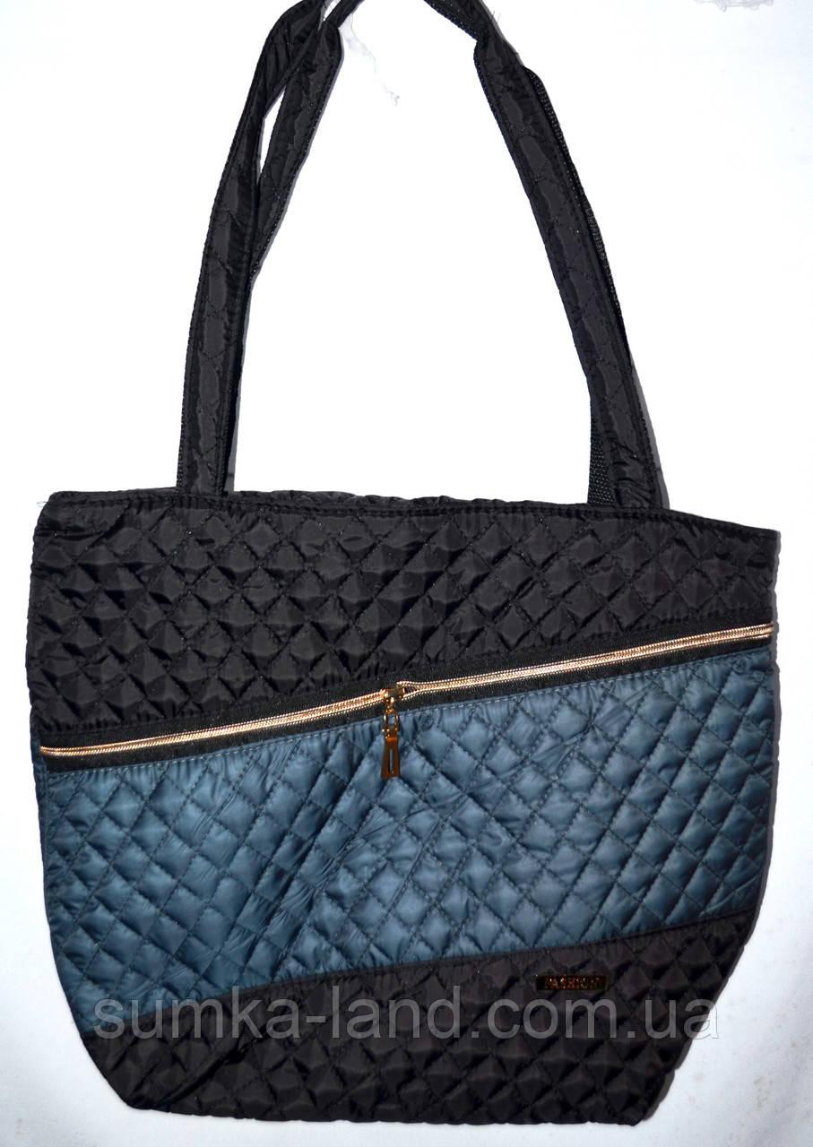 Женская черная стеганная сумка со вставкой со змейкой 22*30