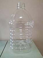 ПЕТ пляшка ємністю 5 літрів, 71.6 гр., з первинної сировини, прозора.