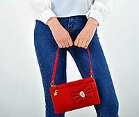 Женский клатч Бантик, Красный, из кожзама