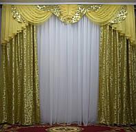"""Ламбрекеном на ручной выкладке """"Дана"""", ширина 3 метра+шторы, фото 1"""