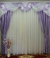 """Комплект в спальню сиреневого цвета, шторы с ламбрекеном """"Дана"""", фото 1"""