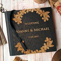 """Деревянная свадебная книга для пожеланий 22х23 см с тонированной обложкой """"Венок из листьев"""", фото 1"""