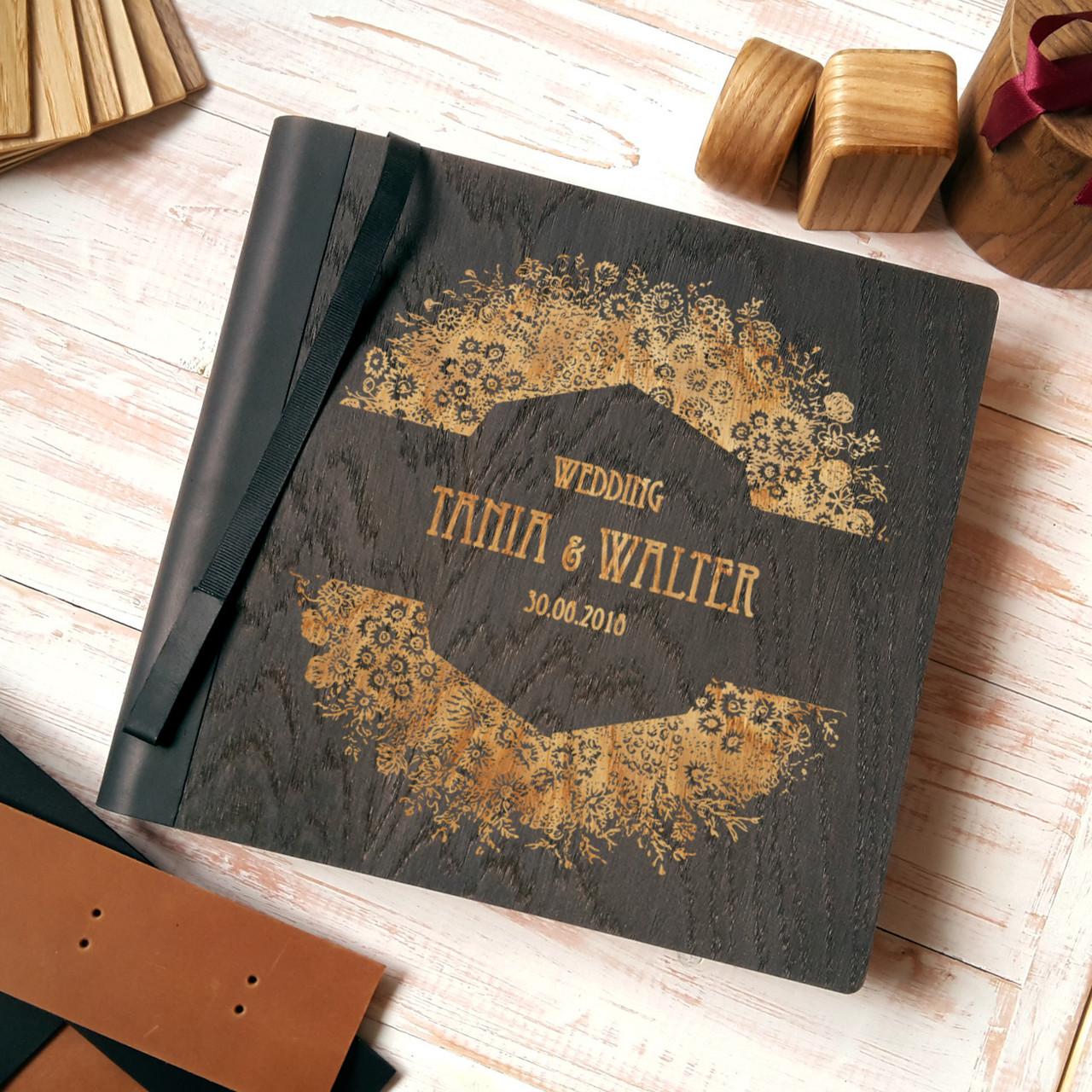 """Деревянная свадебная книга для пожеланий 22х23 см с тонированной обложкой """"Большой Венок"""""""