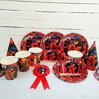 """Набор для детского дня рождения """"Леди Баг"""". Тарелки, стаканы, колпачки, запрошення, медаль"""