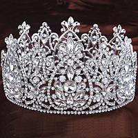 Круглая корона под серебро,  диадема, тиара, высота 9 см., фото 1