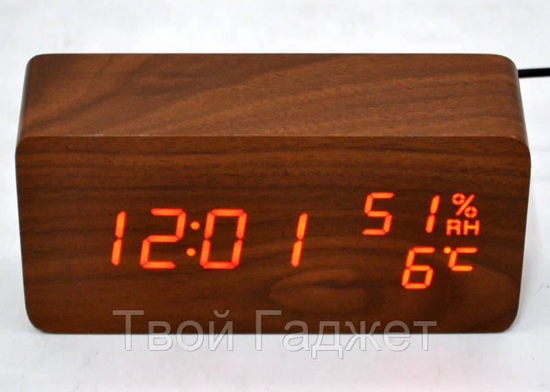 Настольные часы c красной подсветкой на коричневом фоне с датой и влажностью воздуха в виде  бруска VST-862S-1
