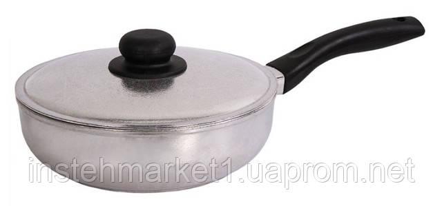 Сковорода алюмінієва з потовщеним дном БІОЛ Блиск 2609БК (260х125 мм) бакелітова ручка і кришка в інтернет-магазині