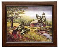 Бабочки в рамке на фоне