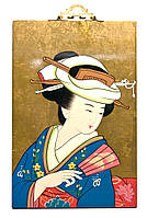 Картина на дереве Японка