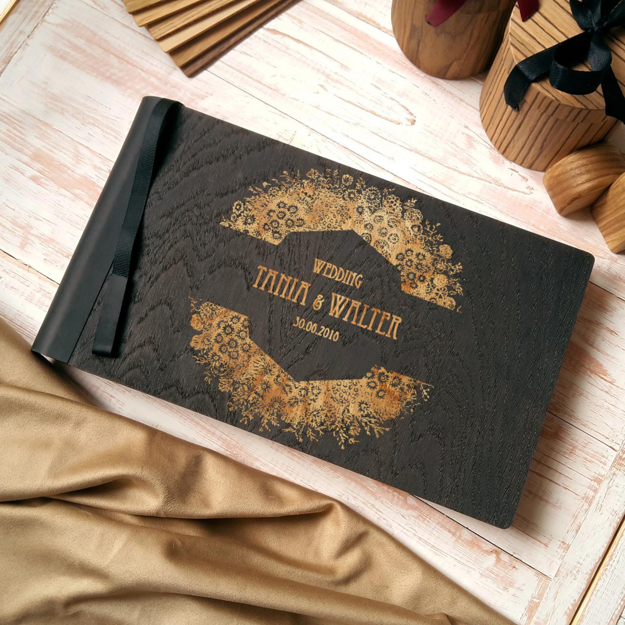 """Деревянная свадебная книга для пожеланий 17*29 см с тонированной обложкой """"Большой Венок"""""""