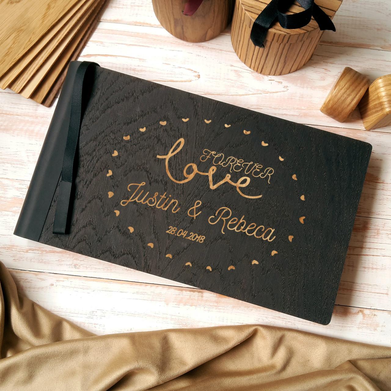 """Деревянная свадебная книга для пожеланий 17*29 см с тонированной обложкой """"Любовь Навсегда"""""""