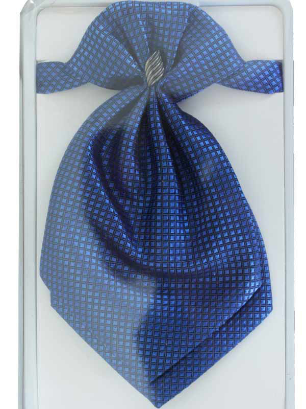 Галстук - пластрон синий в квадратик арт. 13380