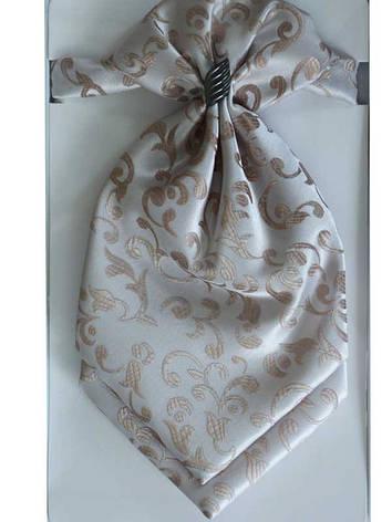 Галстук - пластрон бежевый с цветочным принтом арт. 13394, фото 2