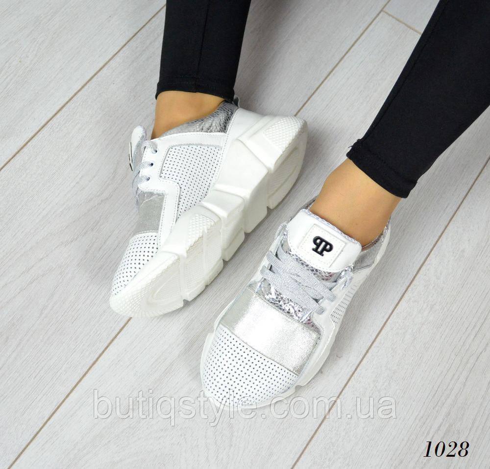36, 40 размер! Женские  белые кроссовки PP. Натуральная кожа