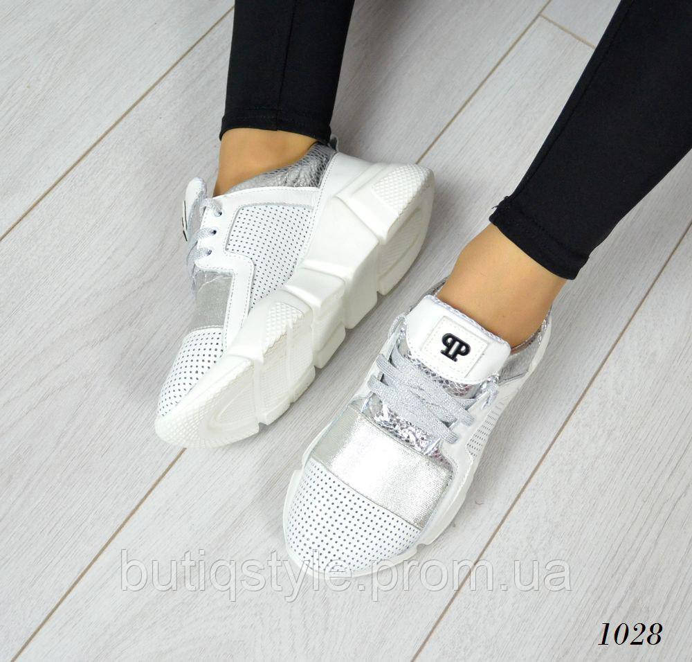 40 размер! Женские  белые кроссовки PP. Натуральная кожа