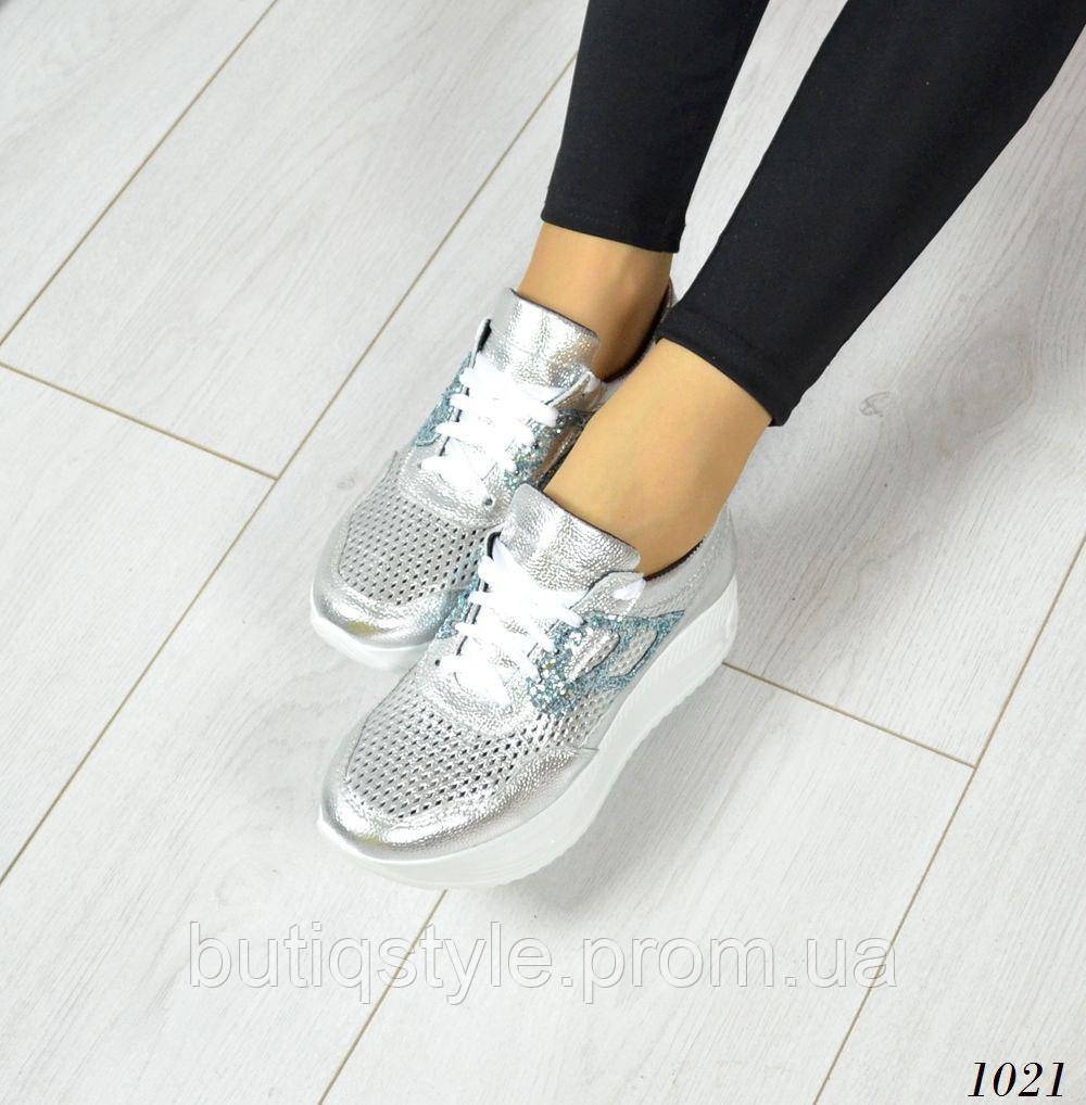40 размер! Женские  серебряные кроссовки Richi, натуральная кожа