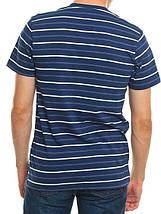 Чоловіча футболка в полоску, розміри:46-56, преміум якість, натуральна, 100% бавовна - темно синя, фото 3