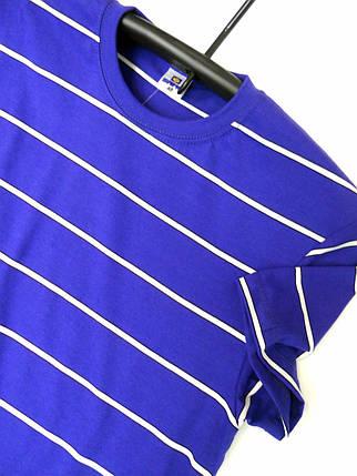 Чоловіча футболка в полоску, розміри:46-56, преміум якість, 100% бавовна - ярко синя, фото 2